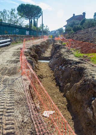 trenching: Detail of a trench works