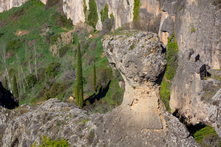 curiously: Curiously shaped granite rock in the city of Cuenca, Spain
