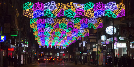 city scene: Colorful lights adorn the streets at Christmas, Madrid, Spain Editorial