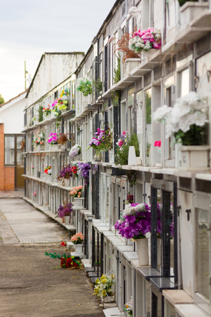 niches: Niches with flowers in a cemetery
