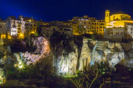 cuenca: Homes night along cliff Cuenca, Spain