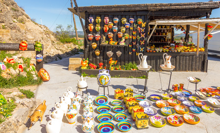 fleamarket: Ceramic objects typical of Cuenca, Spain Stock Photo