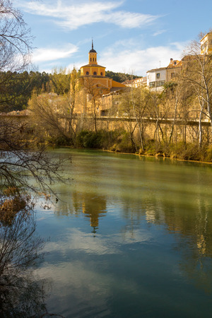city park boat house: Jucar river crossing the city of Cuenca, Spain