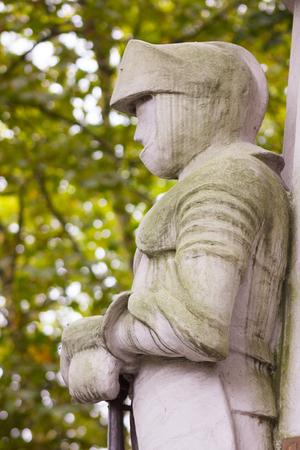 aviles: Statue of knights in white stone, Aviles, Spain