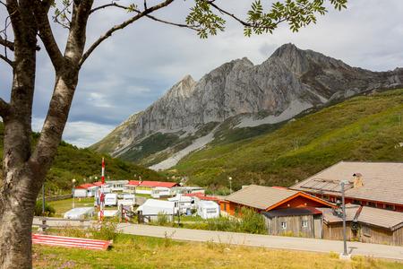 san isidro: Landscape from the port of mountain of San Isidro, Asturias, Spain Stock Photo