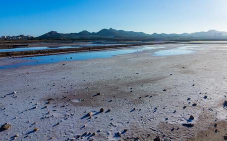dry natural salt lakes (Salinas) on the south coast of Murcia, Spain