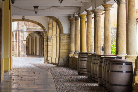aviles: Arcades and columns famous ancient city of Aviles Spain