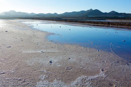 saltmine: dry natural salt lakes (Salinas) on the south coast of Murcia, Spain