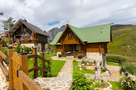 beautiful houses in high mountains during the summer