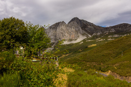 Landscape from the port of mountain of San Isidro, Asturias, Spain Stock Photo