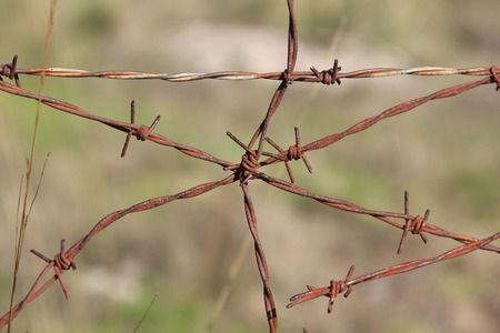 Background with rusty barbed wire Stock Photo