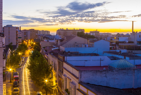 Street in beautiful dawn in the city of Jerez de la frontera Cadiz, Spain Stock Photo