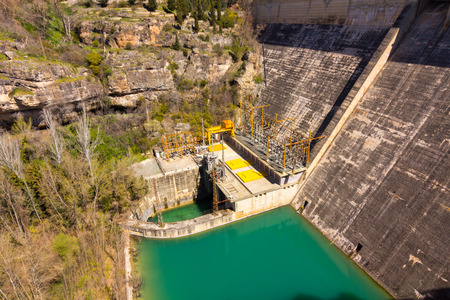 hoover dam: Old dam hydroelectric power plant in cuenca, Spain