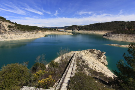 Rails for loading and unloading in Buendia reservoir, Cuenca, Spain