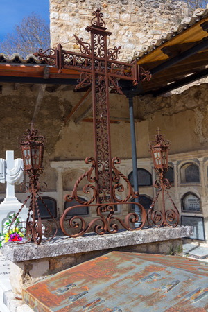 old cemetery with beautiful sculptures and crosses