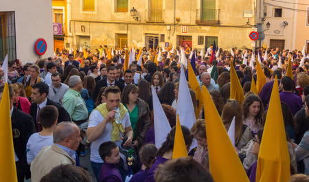 devote: CUENCA, Spain April 2, 2015: preparations for the parade of the Nazarenes in Easter in Cuenca, Spain