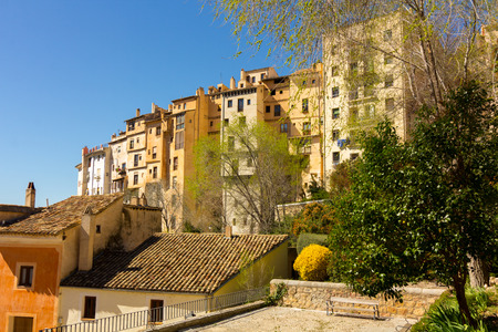 Typical houses along the precipice of the city of Cuenca, Spain Stock Photo