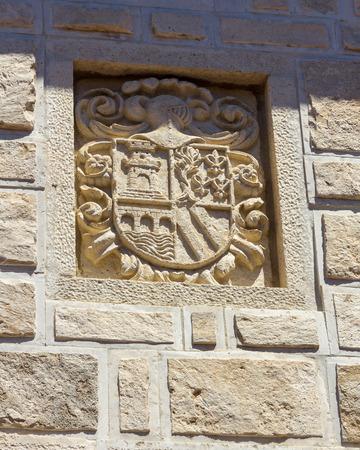 blazon: Blazon Coat of arms in stone Stock Photo