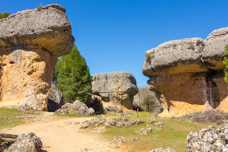 capricious: Rocks with capricious forms in the enchanted city of Cuenca, Spain Stock Photo
