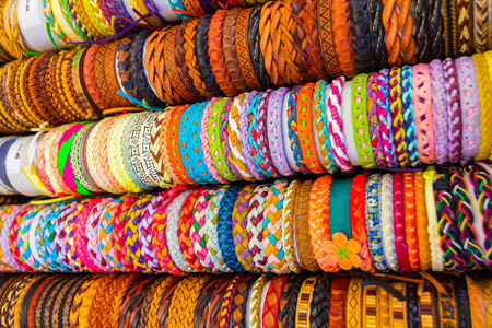 leather bracelets with different shapes and colors Stock Photo