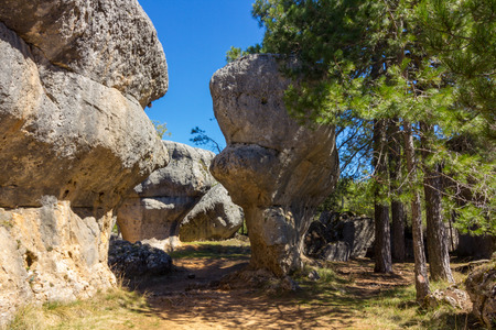 Rocks with capricious forms in the enchanted city of Cuenca, Spain Stock Photo