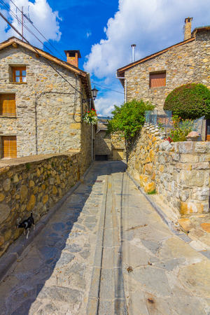 Ainsa medieval village of the Pyrenees with beautiful stone houses, Huesca, Spain