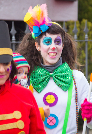MADRID, SPAIN - February, 10: Carnival festivities with groups of people disguised on February, 10, 2017 in Madrid, Spain