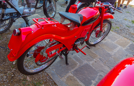 AINSA 10 September 2017: exhibition of old motorcycles, restored cars and tractors in Ainsa, Huesca Stock Photo