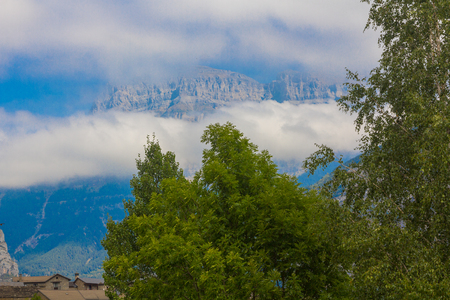 Clouds in Monte Perdido in the natural park of Ordesa huesca, spain Stock Photo