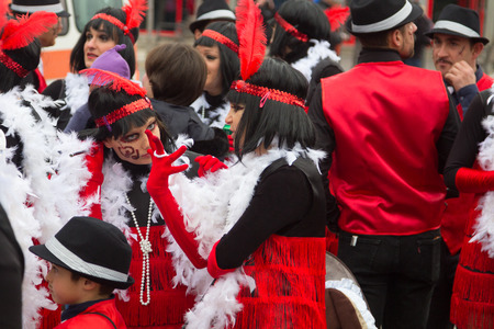 criminal: MADRID, SPAIN - February, 10: Carnival festivities with groups of people disguised on February, 10, 2017 in Madrid, Spain