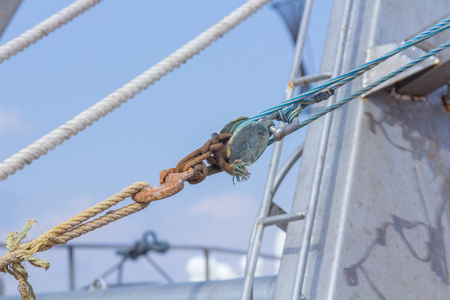 Ropes and moorings on fishing boats Stock Photo