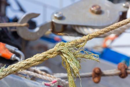 Ropes and moorings on fishing boats Stock Photo