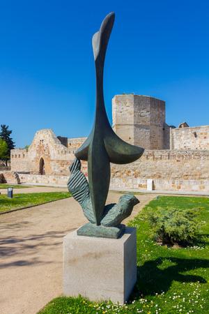 Modernist sculptures in the park surrounding the Castillo de Zamora, Spain
