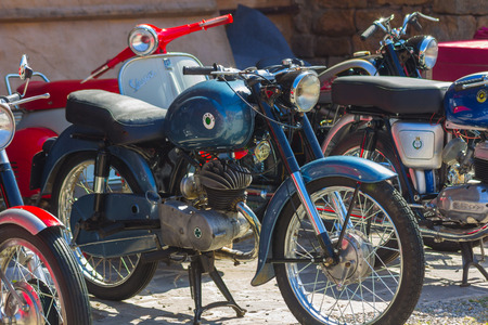 AINSA 10 September 2017: exhibition of old motorcycles, restored cars and tractors in Ainsa, Huesca Editorial
