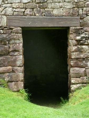 Doorway in Old Stone Building Stock Photo