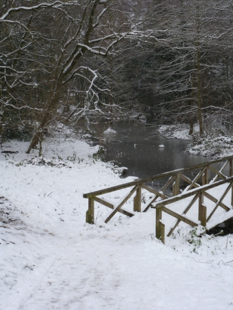 Wooden Bridge in Snow Stock Photo - 17481700