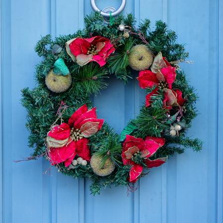Christmas Wreath on Blue Door photo