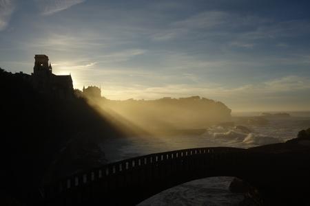 shafts: Arch Bridge in Biarritz Stock Photo