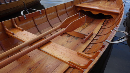 Wooden Rowing Boat Stock Photo