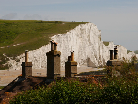 Cottage Chimneys and Seven Sisters Stock Photo
