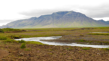 Iceland River and Mountains