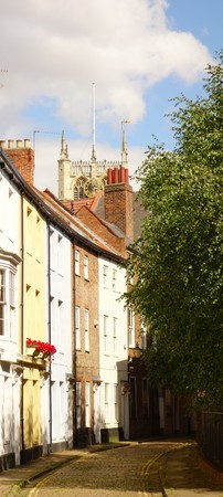 View of attractive street of terraced houses in Hull, Yorkshire, England