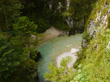 Bend in the river with beaches either side in Leutasch gorge, Austria  Germany