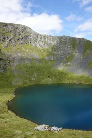 View of Scales Tarn with Sharp Edge behind, Blencatha, Lake District, England Standard-Bild - 119460834