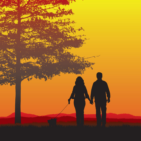 Couple dog walking in the sunset Vector
