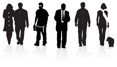 Silhouette of individuals walking forwards Vector