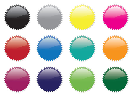 A set of twelve coloured stickers Stock Vector - 4564860