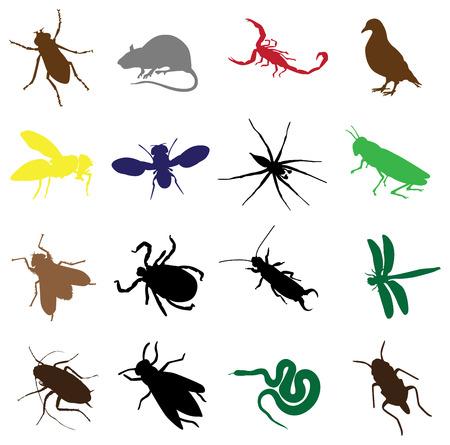 flea: siluetas de insectos