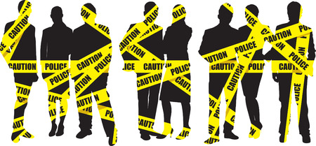 accident woman: people on a police tape