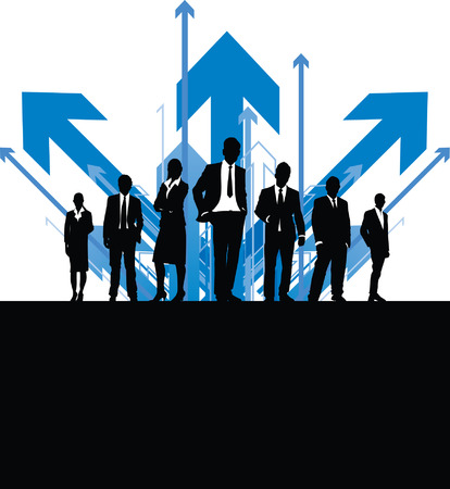 business people on an abstract arrow background Vector